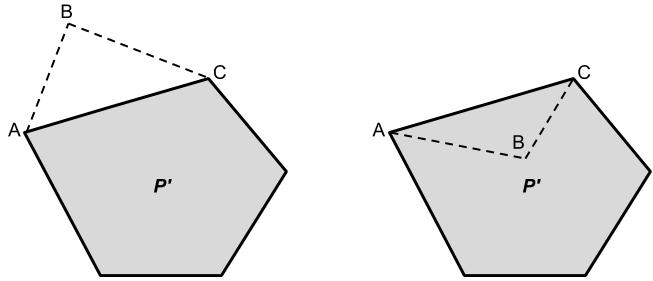 Figure 10, removing vertex B from the polygon.