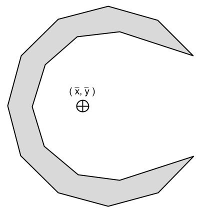 Figure 2, the centroid of a crescent moon
